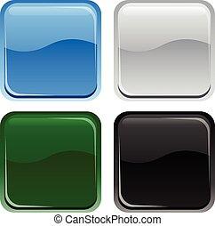 botões, teia, quadrado, lustroso