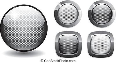 botões, teia, rede, estilo, em branco