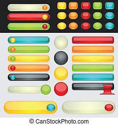 botões, teia, shinny, coloridos