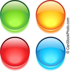 botões, teia, vetorial, em branco