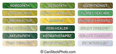 botões, terapia alternativa