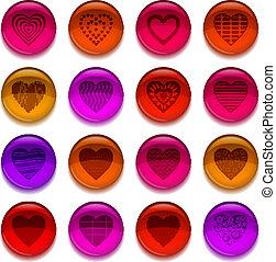 botões, valentine, coração, jogo