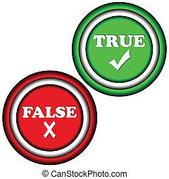 botões, verdadeiro, falso