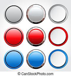 botões, vetorial, circular, lustroso, em branco
