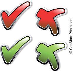 botões, vetorial, confira mark
