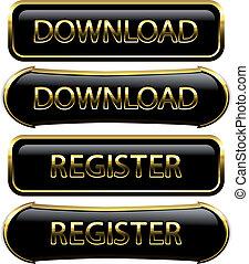 botões, vetorial, -, download, registo