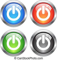 botões, vetorial, poder