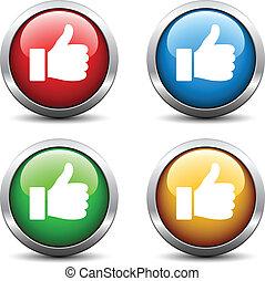 botões, vetorial, polegar cima