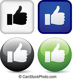botões, vetorial, polegares cima