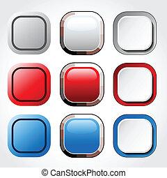 botões, vetorial, quadrado, lustroso, em branco