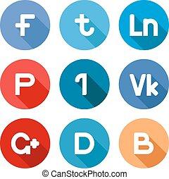 botões, vetorial, rede, social