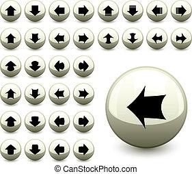botões, vetorial, seta