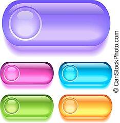 botões, vetorial, vidrado