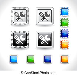 botões, web., vector.