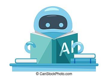 bot, ai, lectura, book., robot, ejercicio, o