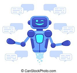 bot, asystent, ilustracja, gaworząc, online, roboty, support...