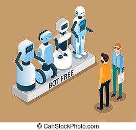 Bot free concept vector isometric illustration - Bot free...