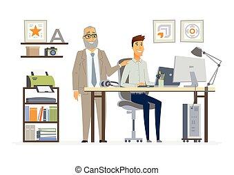 bot, -, igazgató, ügy, vektor, karikatúra, ábra, betűk, modern