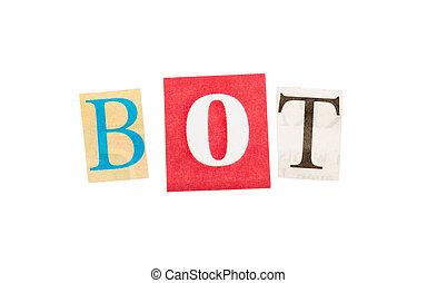 bot, inschrift, von, ausschneiden, briefe
