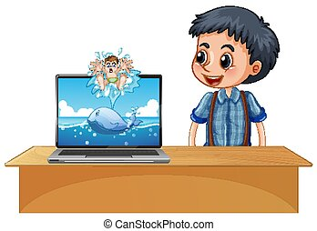 bot, plano de fondo, computador portatil, luego, agua