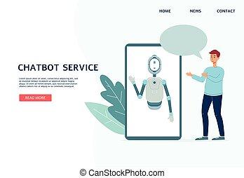 bot, servicios, virtual, chatbot, illustration., sitio web, ...