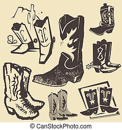 bota, colección, vaquero