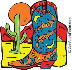 bota, colorido, vaquero