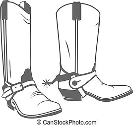 bota, occidental, vaquero