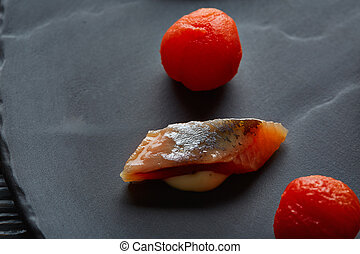 Bota sardine with osmotized tomatoes macro - Bota sardine...