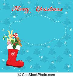 bota, tarjeta de navidad, rojo