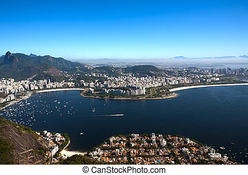 botafogo and flamengo - aerial view of botafogo from the...