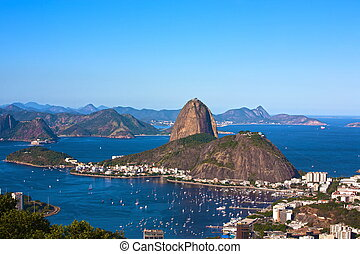 botafogo and the sugar loaf mountain - aerial view of...
