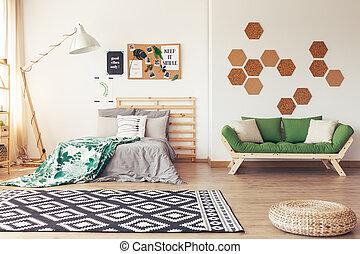 Botanic decor of cozy bedroom