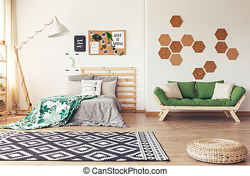 Botanic decor of cozy bedroom