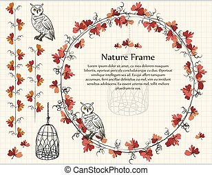 Botanic nature Autumn red leaf frame owl bird cage in hand drawn style