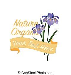 botanic, virág kert, színes, természet, bíbor, struktúra, vízfestmény, vektor, írisz, transzparens