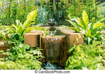 botanica, cachoeira, jardim, artificial