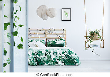 Botanical bedroom with wooden bed - White, botanical bedroom...