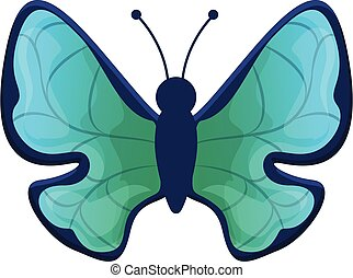 Botanical butterfly icon, cartoon style