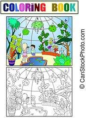 Botanical garden cartoon vector illustration. Color pattern...