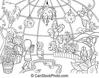 botanical garden, karikatura, vektor, ilustrace