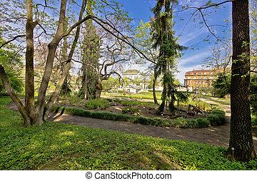 Botanical garden of Zagreb flora view