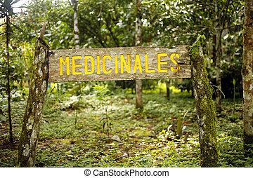 Botanical garden sign for medicinal plant section