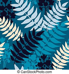 Botanical minimalistic seamless pattern with leaves