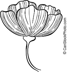 Botanical rose hip flower icon, hand drawn style - Botanical...