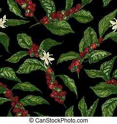Botanical seamless pattern with coffea or coffee tree branches, flowers, leaves and ripe fruits or berries on black background. Natural vector illustration in elegant antique style for wrapping paper.