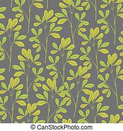 Botanical seamless pattern with fenugreek stems and leaves on gray background. Natural backdrop with green plants hand drawn in antique style. Vector illustration for wallpaper, textile print.