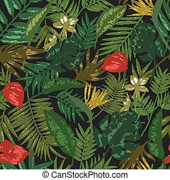 Botanical seamless pattern with foliage of exotic jungle plants on black background. Backdrop with leaves of tropical palm trees. Vector illustration for wrapping paper, textile print, wallpaper.