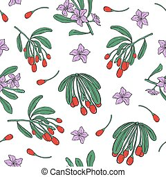 Botanical seamless pattern with fresh goji red berries and purple flowers on white background. Healthy organic superfood. Natural vector illustration for textile print, wallpaper, wrapping paper.