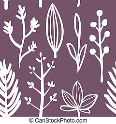 Botanical seamless pattern with herbs
